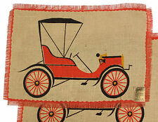California Hand Prints Table Placemat Set Vintage Andes Cloth 1920s Car Jalopy