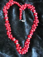 Vintage Dark Red Faceted Glass Crystal Bead Necklace Lobster Clasp Beautiful