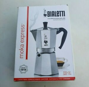 Boxed and unused Bialetti 9 cup Moka Express Coffee Maker