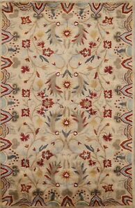 Beige Floral 5'x8' Agra Oriental Area Rug Hand-Tufted Living Room Carpet Wool