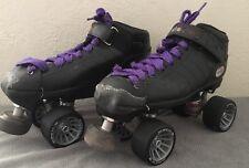 Riedell R3 Cayman Size 8 MENS Black Roller Skates Derby QUADS w/ Mach-5 Wheels