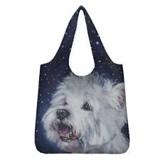 More details for westie shopping bag reusable foldable washable lovely gift idea