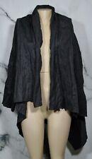 J. JILL Charcoal Gray Lagenlook Asymmetrical Open Front Jacket Medium Crinkle