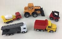 Die-Cast 1:64 Construction Trucks Loose 5pc Lot Diecast Vintage 90s A2