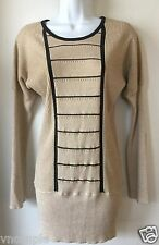 Lauren Vidal size M beige, brown and gold sparkle sweater tunic