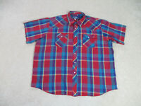 Wrangler Button Up Shirt Adult 2XL XXL Red Blue Pearl Snap Western Cowboy Men A3