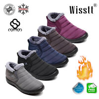 Womens Flat Ankle Snow Boots Winter Warm Fur Lining Slip On Shoes Waterproof New