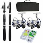 Fishing Pole Combo Set 2.1m/6.89ft 2PCS Collapsible Rods 2PCS Spinning Reels NEW