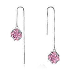 925 Sterling Silver Pink Zircon Heart Clover Long Ear Line Drop Tassel Earrings