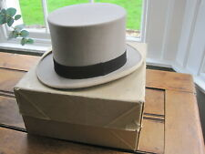 Vintage Tress Grey Top Hat in Box and Black Collapsible Austin Reed Opera Hat A