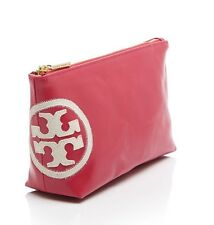 NWT TORY BURCH Logo Water Resistant Hot Pink Triangle Cosmetic Pouch + RECEIPT