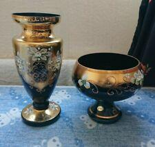 More details for antique vintage retro bohemia czech black crystal glass floral gold vase bowl