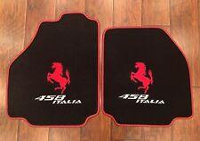FERRARI 458 ITALIA CUSTOM CAR FLOOR MATS RED HORSE LOGO AND RED EDGING CARPET