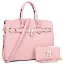 New Womens Handbag Leather Satchel Briefcase Tote Bag Shoulder Bag Padlock Purse