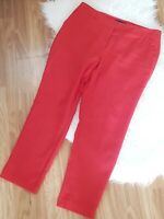 Marks and Spencer Collection Red Trousers Size 16 Linen Mix Tapered Leg Pockets