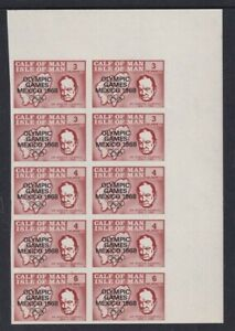 CALF OF MAN 1968 OLYMPICS / WINSTON CHURCHILL IMPERFORATE STRIP OF 10 MNH a