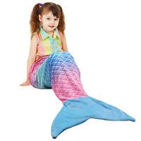 Mermaid Tail Blanket Plush Flannel Sleeping Snuggle Blanket for Kids Boys Girls