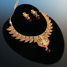 MATTE FINISH GOLD LAKSHMI PENDANT NECKLACE EARRINGS TEMPLE JEWELLERY FOR WOMENS