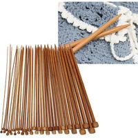 36Pcs Single Pointed Carbonized Knitting Needles Bamboo Crochet Kit Set 18 sizes