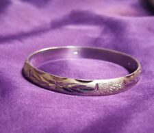 .925 STERLING Silver BRACELET- Intricate Etched Detail Design- Hinged Bangle- 7""