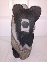 "Carved Black BEAR Carving Cabin Decor Rustic Log Bark Wood Sculpture 14"" Smokies"