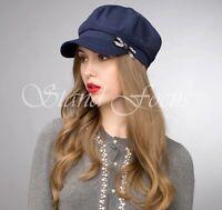 Stand Focus Women Chic Cotton Twill Cabbie Newsboy Baker Boy Hat Cap Glitter Bow