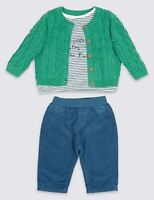 M&S Baby boy girl 3 piece set Green Cardigan White Top Navy trousers 0-9 Months