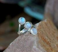 White Rainbow Moonstone Solid 925 Sterling Silver Ring Meditation Ring Handmade,