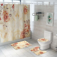 Floral Bathroom Rug Set Shower Curtain Non-Slip Toilet Lid Cover Bath Mat