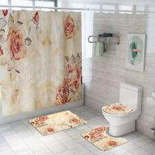 Floral Bathroom Rug Set Shower Curtain Non-Slip Toilet Seat Lid Cover Bath Mat