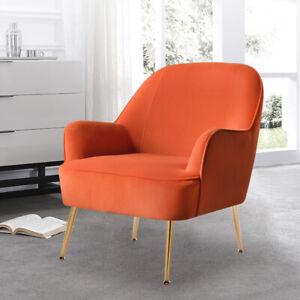 Occasional Velvet Armchair Wing Back Tub Chair Grey Orange Lounge Sofa Club Seat
