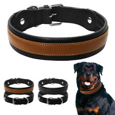 Soft Padded Wide Leather Big Dog Collars Durable for Medium Large Dog Rottweiler