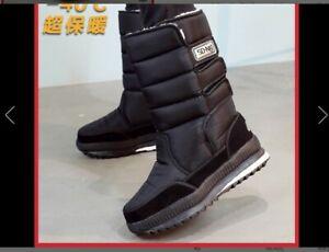 Winter Men's Snow Boots Outdoor Warm Fur Shoes Waterproof Mid-Calf Moon Boots