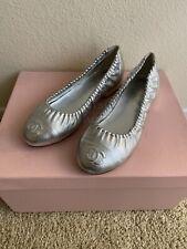 Chanel Silver Ballerina Cap Toe Ruched 37C Ballet Metallic Flats US7 CC Logo