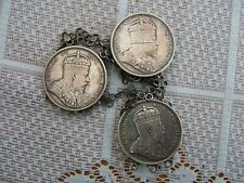 THREE 1904 STRAITS SETTLEMENTS SILVER ONE DOLLAR COINS AS CLOAK FASTENER...