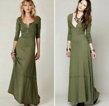 FREE PEOPLE Beach MILES OF HENLEY GREEN Maxi DRESS Button Long Sleeve Cotton S