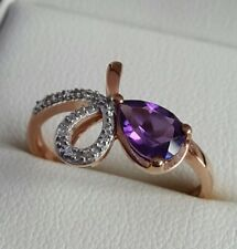 amethyst and diamond bow ring in 9ct rose gold finger size N BNIB