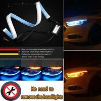 2Pcs 30Cm Switchback Car Flexible Led Strip Light Drl 'Flowing Turn Signal FE