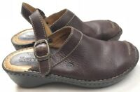 BORN Women's 7 38 Brown Leather Slingbacks Clogs Mules Buckles Shoes Wedges b0P