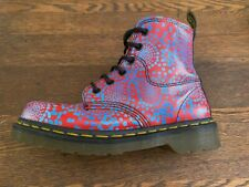 Vintage Doc Dr Martens Rare Unique Red w/Blue Dots Boots Made in England UK4 US6