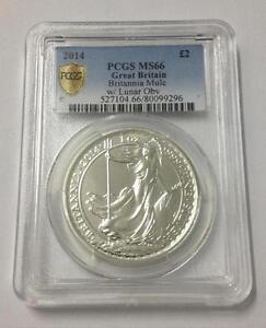 Britannia Rare Mule Error w/ Lunar Obverse 2014 1 oz 999 Silver Coin - PCGS MS66