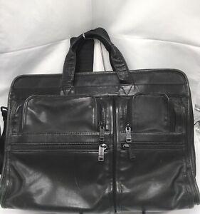 TUMI Alpha Black Leather Computer Laptop Briefcase Business Messenger
