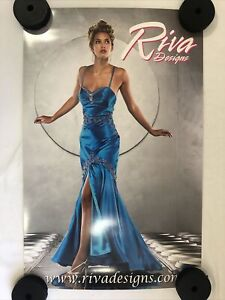 """Riva Designs Advertising Poster 25"""" x 18"""" Excellent Condition Blue Dress"""