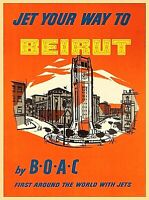 Jet your way Beirut Lebanon BOAC Vintage Travel Advertisement Art Poster Print