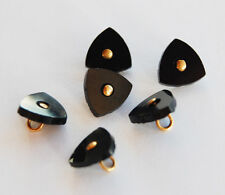 VINTAGE ANTIQUE JET BLACK GLASS BUTTON or BEAD TINY SMALL •  9mm TRIANGLE