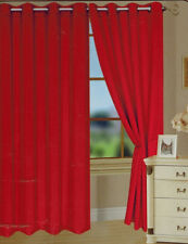 "2  PANELS SOLID RED WINDOW FAUX SILK  8 GROMMET CURTAIN DRAPES 84"" LENGTH"