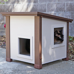 Small Outdoor Albany Feral Cat Pet Shelter Home Weather Resistant Easy Assembly