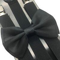 Mens Womens Black Clip-on adjustable Suspenders + Black Bow Tie Combo Set