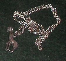 "Silver Miniature Giraffe Animal Charm Nice Design 16"" Chain Necklace Pendant"