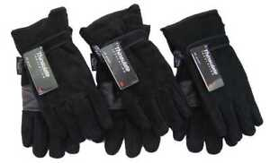 Men Polar Fleece Black Thinsulate Insulated Thermal Grip Palm Gloves By Rocjjock